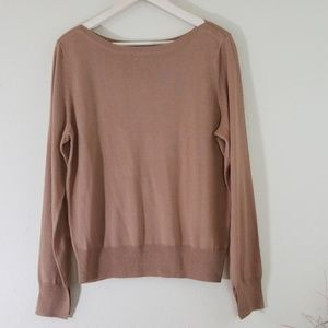 The Limited Camel Nude Crewneck Long Sleeve Top